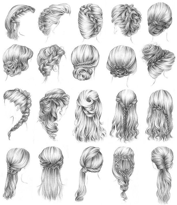 I want to try these all! -   13 hair Drawing updo ideas