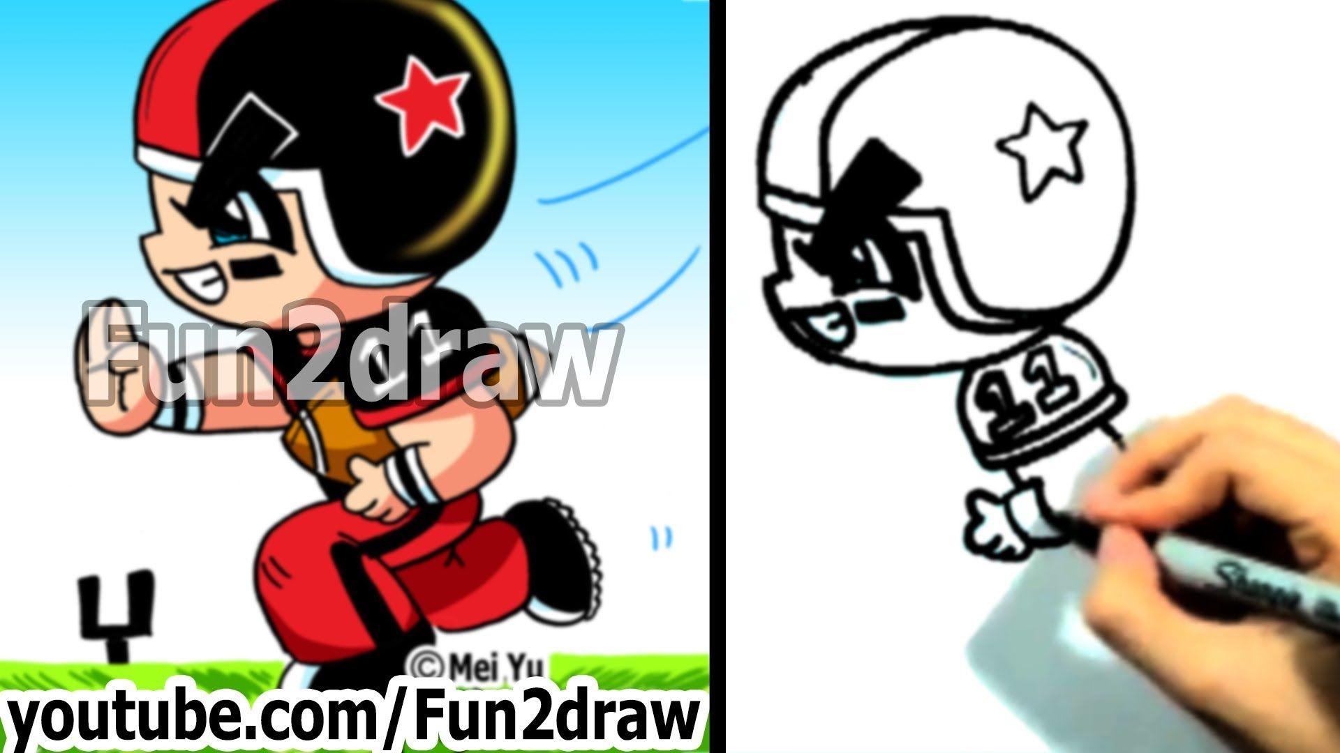 How to draw cartoon people football player cartoon