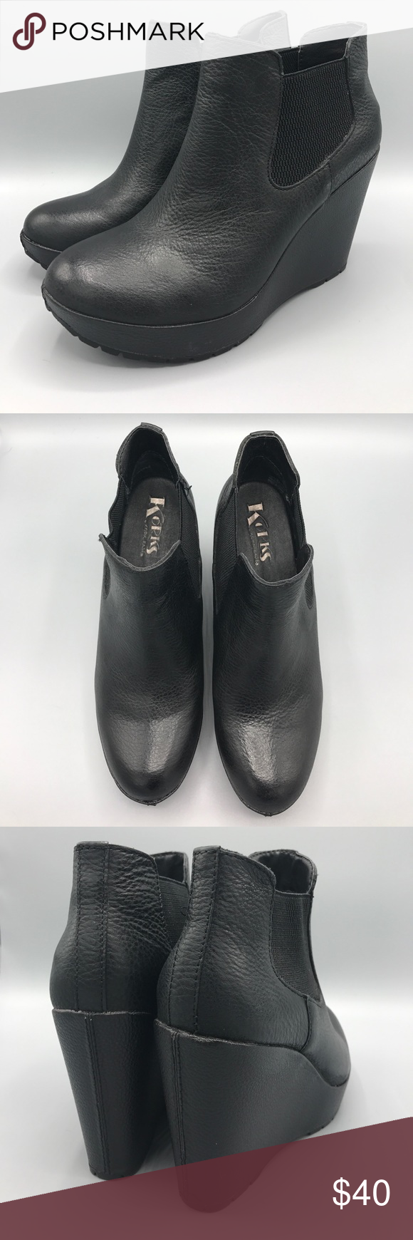 8b3a08415a25 Korks by Kork-Ease Hyannis Ankle Wedge Bootie 8.5 Brand new with slight  stitch defect. Doesn t effect look or wear-ability! Black leather upper and  wrapped ...