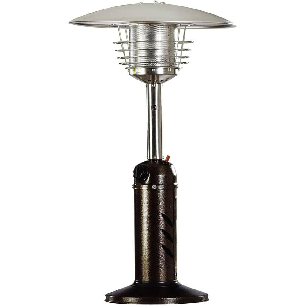 Hanover Mini Umbrella Tabletop 11 000 Btu Hammered Bronze Propane