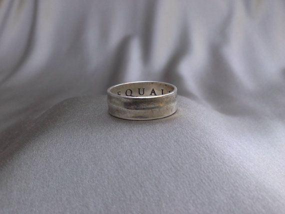 AEQUALITAS (Equality) 925 Sterling Silver Ring Signed by Designer DV of Italy :Vintage Sterling Silver Size 11 Ring on Etsy, $39.22