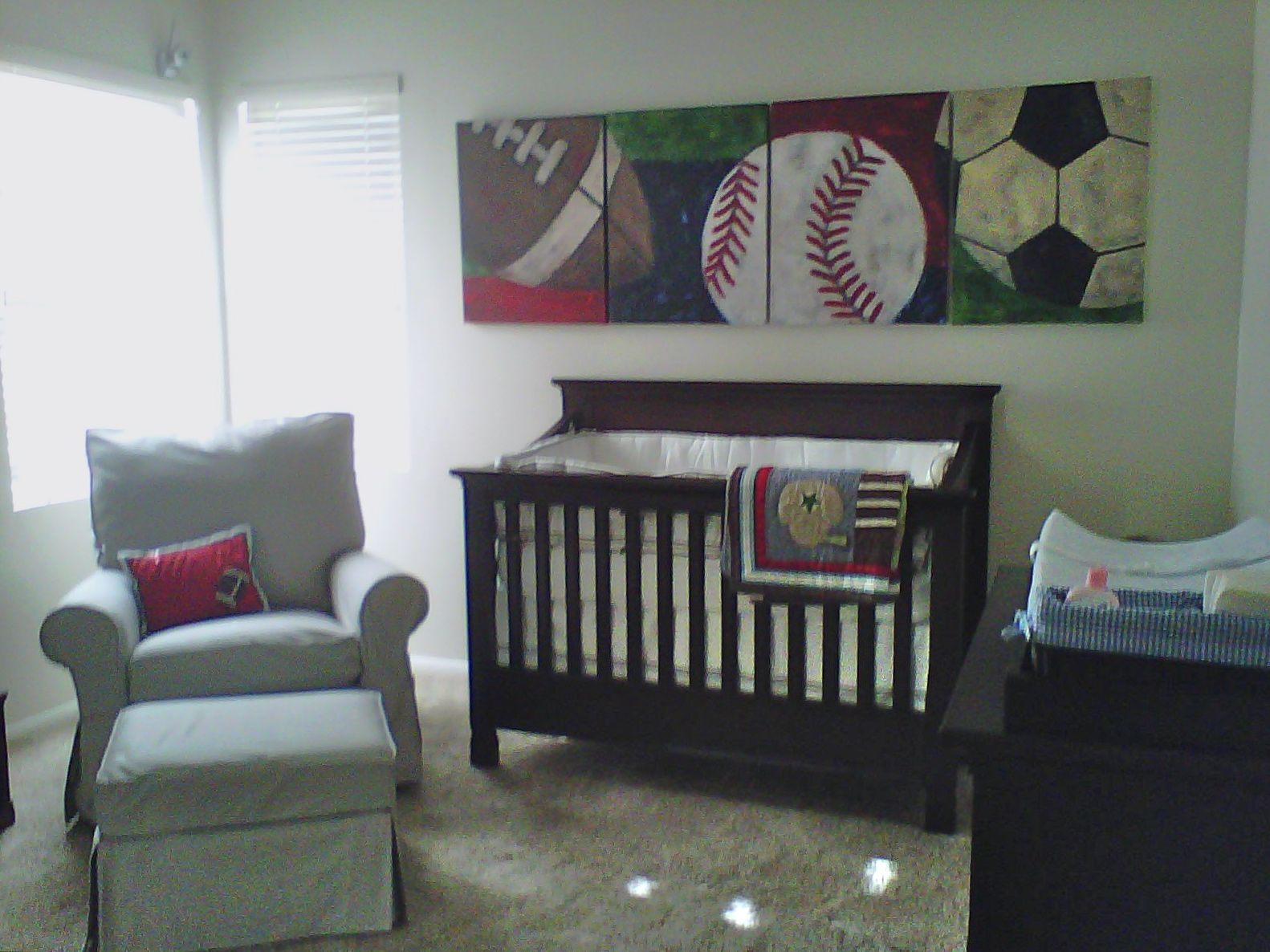 Sports Theme Baby Boy Nursery You Can See That The Paintings Match Client S Blanket