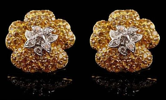 Two Tone Diamond Yellow Sapphire Flower Earrings - Yafa Jewelry