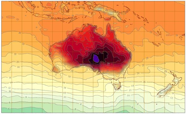 BOM adds new colours to the weather map for record heat