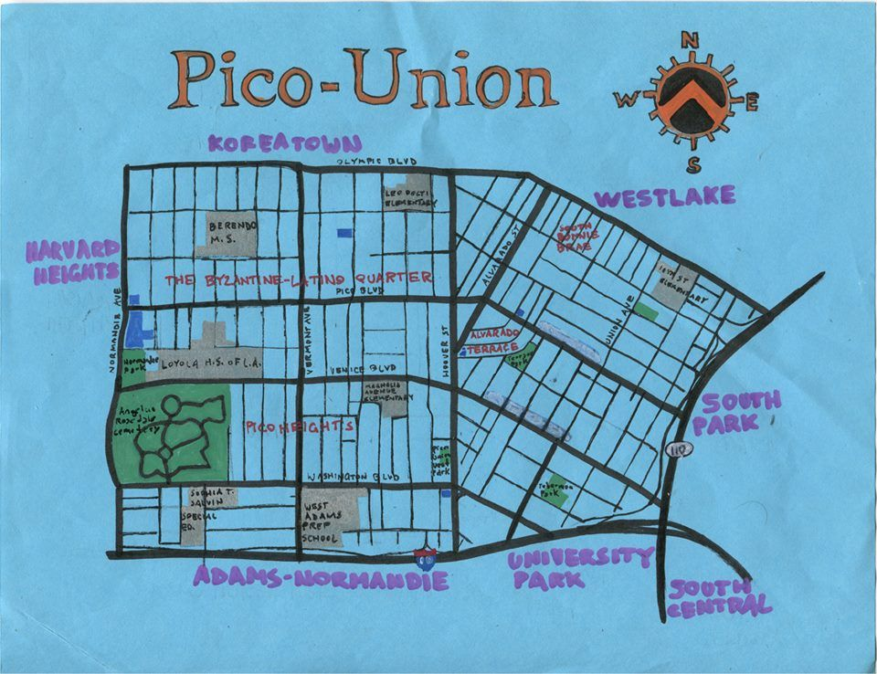 Oil Paint Map Of Pico Union Maps Cartography Handdrawnmaps Picounion Mideastside Themideastside Littlecentral Map Painting Cartography How To Draw Hands