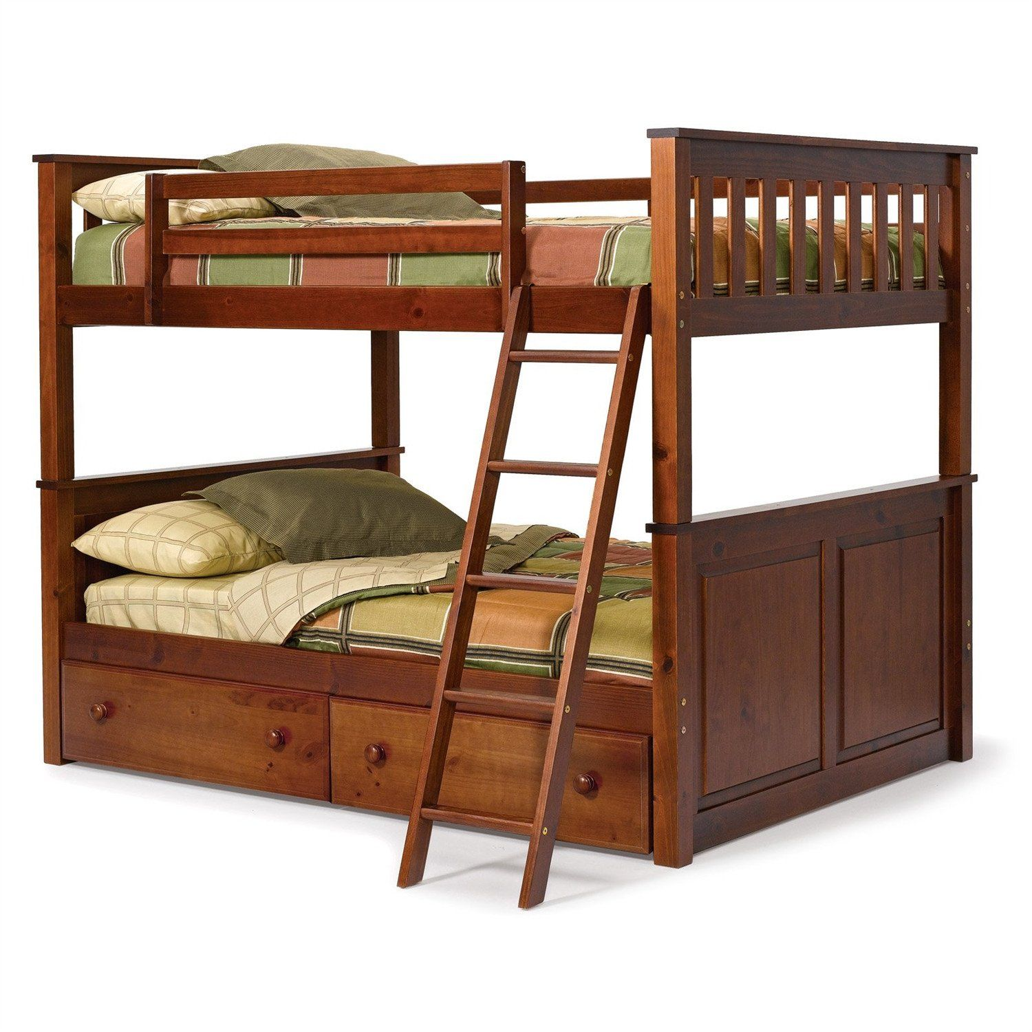 Full Over Full Size Bunk Bed In Solid Hardwood With Chocolate