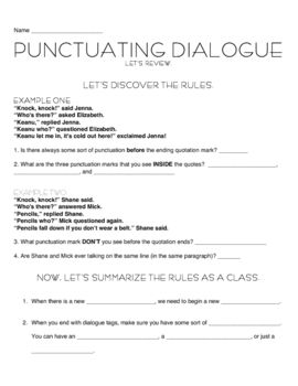 Punctuating Dialogue with Jokes is part of Punctuating dialogue, Teaching dialogue, Dialogue, Jokes, Teaching, School info - This 2day lesson (and 10page packet) introduces and teaches how to punctuate dialogue in a fun way! Students punctuate jokes! What's included in the first lesson an introduction that makes students discover the rules of punctuation; specific jokes to teach from; an activity involving a piece of