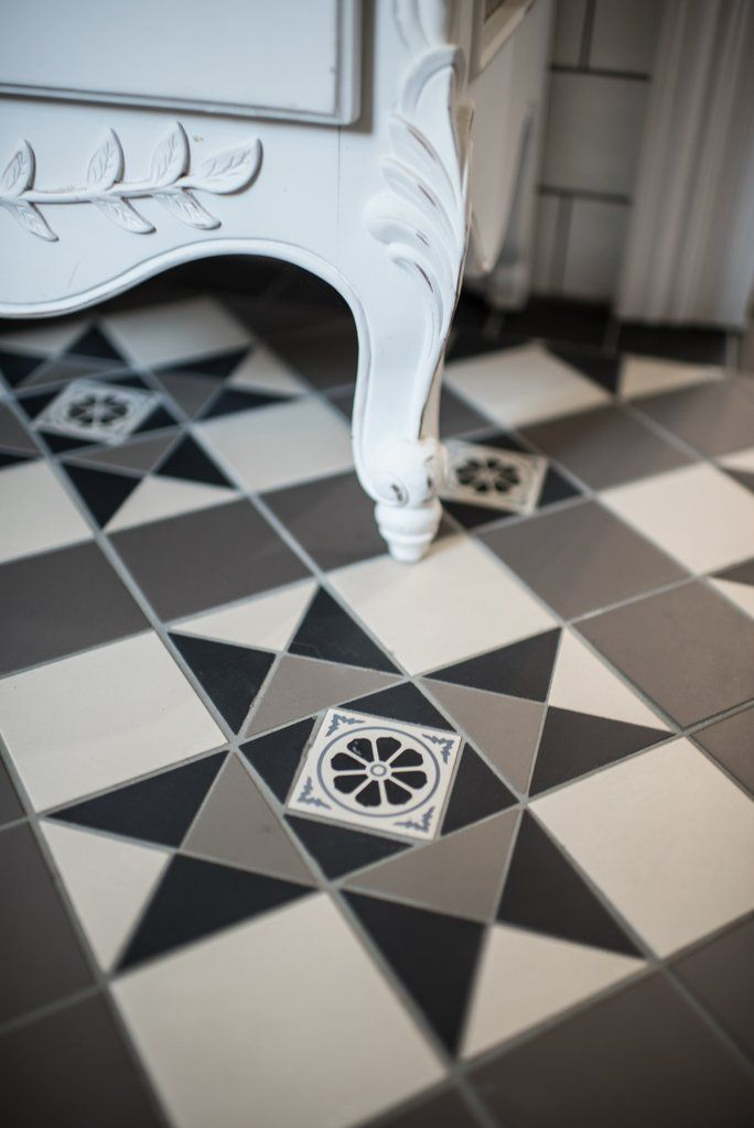 Monochrome Tessellated Tiles With French Provincial Cabinet Olde