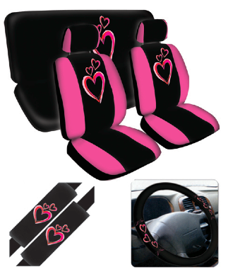 Girly Pink Hearts Car Seat Cover Set