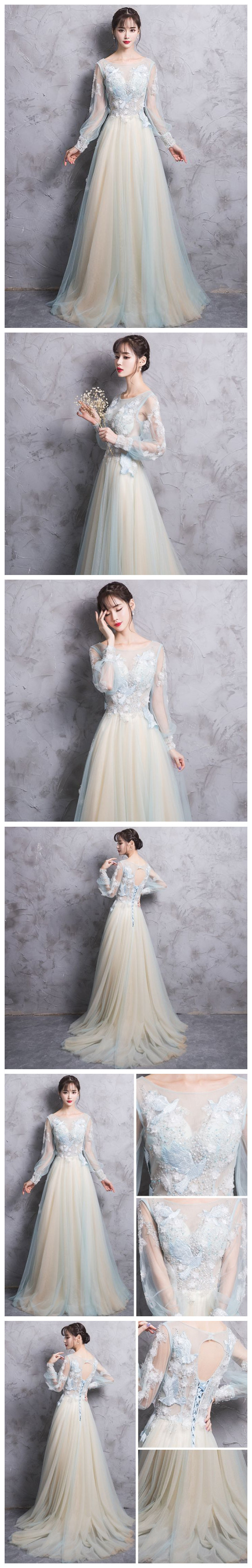 Chic long sleeve prom dress aline scoop applique tulle prom dress