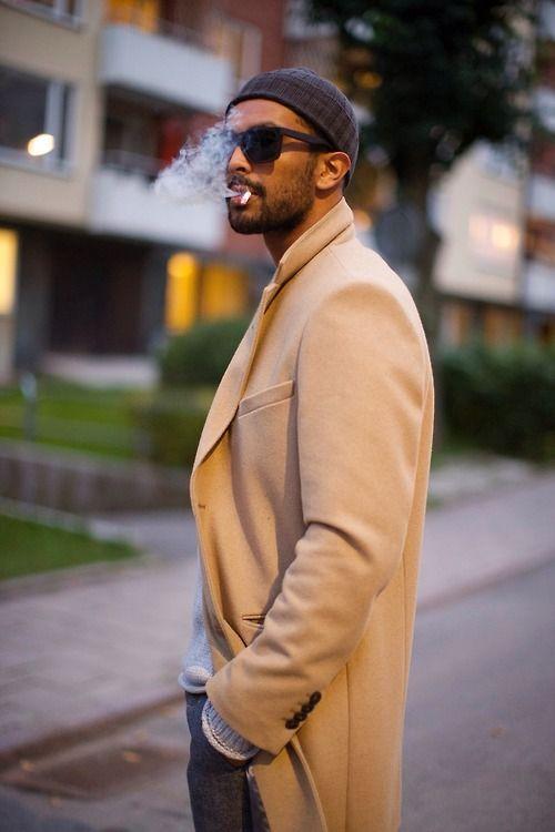 camel coat beanie men style beard