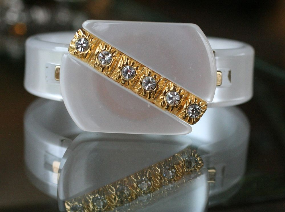 vintage:*MOP-LOOKING LUCITE BRACELET w/GOLD PIPING & RHINESTONES:* Bridal Piece? #Unbranded #Bangle