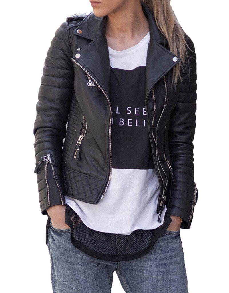 London Craze Women S Stylish Lambskin Genuine Leather Motorcycle Biker Leather Jacket Black Shop2online Best Woman S Fashion Products Designed To Provide Denim Jacket Women Leather Jackets Women Leather Jacket Black [ 1024 x 801 Pixel ]