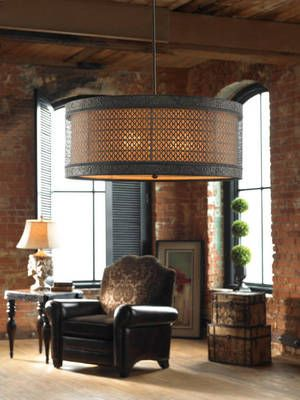 Old World / New Orleans Style 3 Light Hanging Shade Light Drum Pendant $327