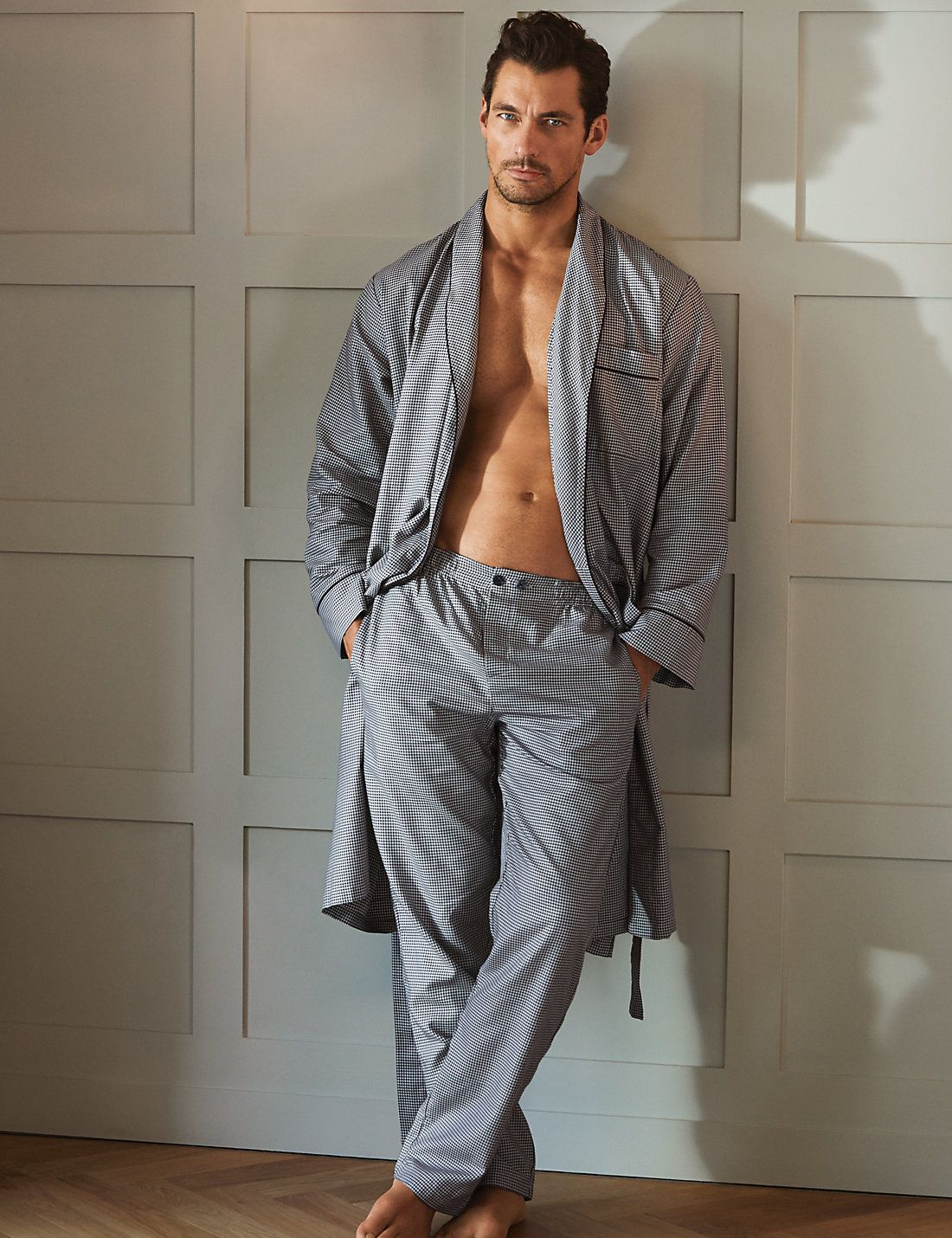 Supima® Cotton Houndstooth Dressing Gown | David gandy ...