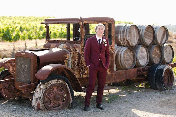 Temecula Wine Country Wedding @ Villa De Amore- #rusticchic Groom in burgundy suit