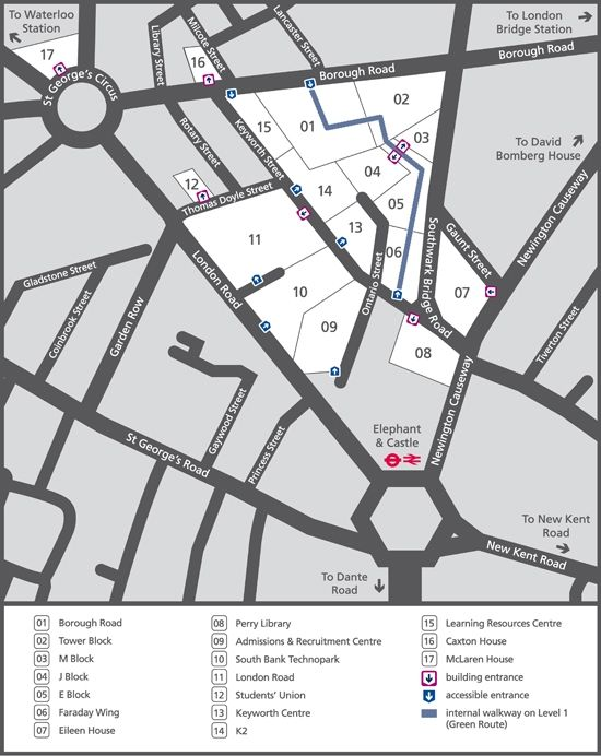 Rvc Campus Map.Lsbu Campus Map Around Campus Pinterest London South Bank