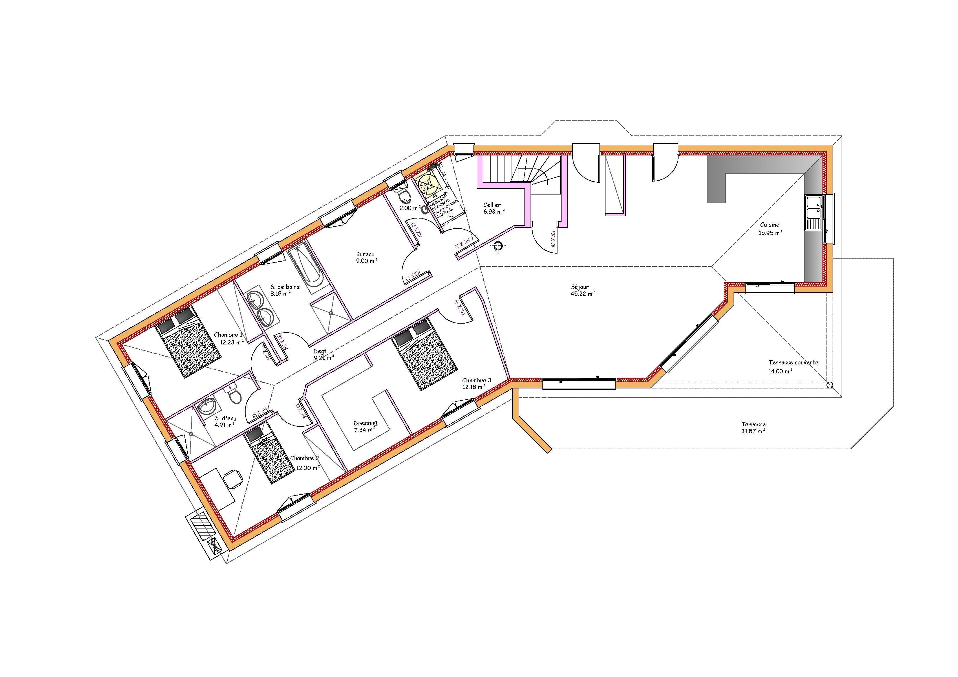 Modèles et plans de maisons > Modèle de plain-pied Inspiration sous sol en V. Constructions ...