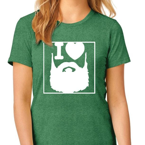 I Love Beards Heathered Crew Shirt [Funny Shirts - Beard TShirts - I Love Men With Beards]