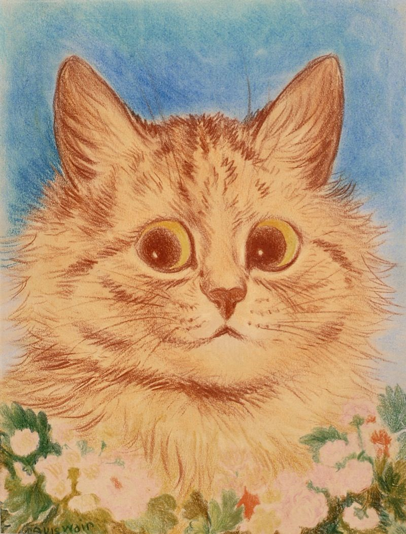 GINGER FLOWER CAT COLOURED CRAYON DRAWING LOUIS WAIN