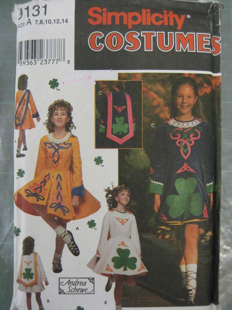 SIMPLICITY SEWING PATTERN Irish National Dance Costume 9131