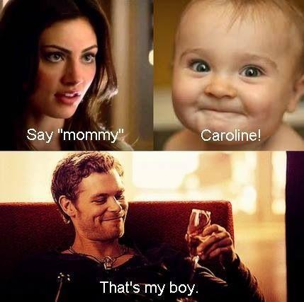 "That's his girl. #klaroline. Soooooo happy that Klaus and Caroline were together on TVD! I miss seeing all of the ""originals"" on TVD"