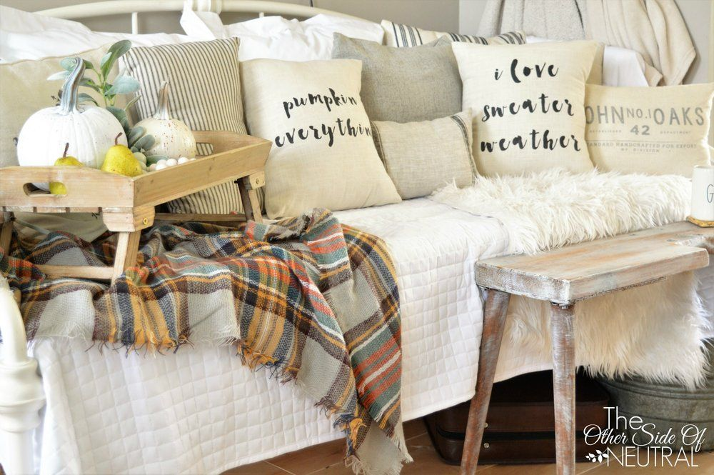 TheOtherSideofNeutralFallPillows  Fall Decor, Farmhouse, neutral, home decor, harvest living room,