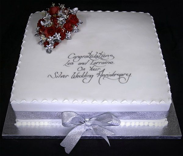 Simple 2nd Wedding Ideas: Simple Square Wedding Anniversary Cake Pictures Sweets