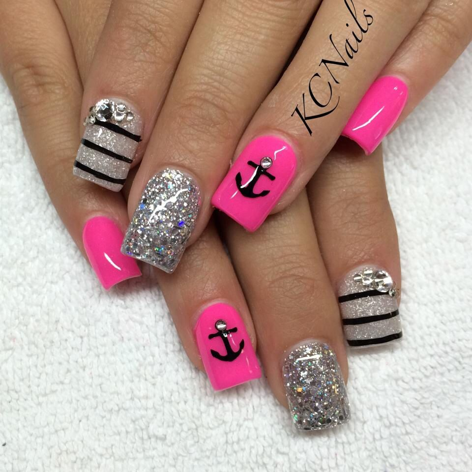 Hot pink and white acrylic nails. Swarovski nails, stripes anchor ...