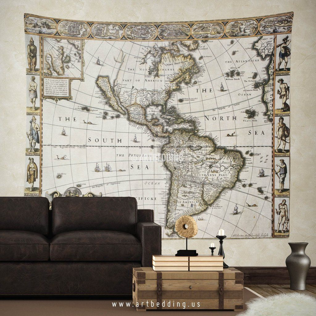 America 1627 old map wall tapestry vintage interior world map wall america 1627 old map wall tapestry vintage interior world map wall hanging old map wall decor gumiabroncs Image collections