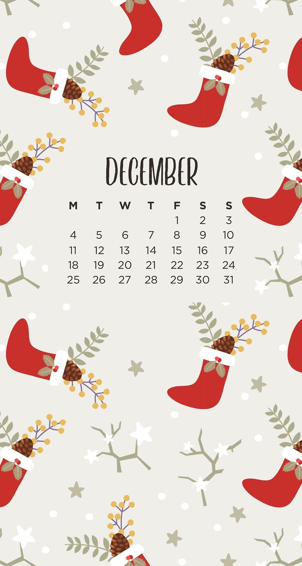 December Christmas Stockings Phone Wallpapers by