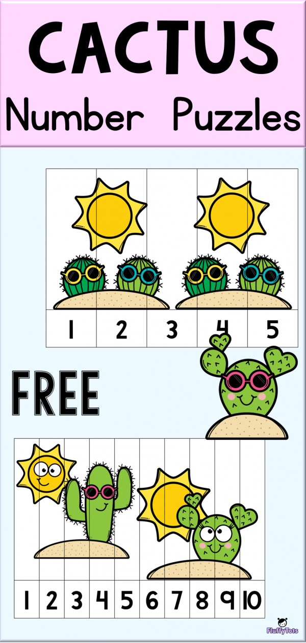 FREE Cactus Number Puzzle Games Fun counting with cool