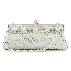 Larisa Barrera White Perforated Leather Beaded Evening Handbag - $299.99