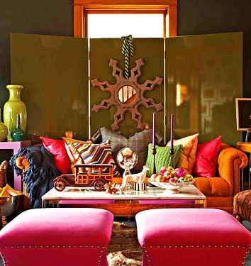 Eclectic living room. Cozy yet casual. Bright & fun. Houzz.com