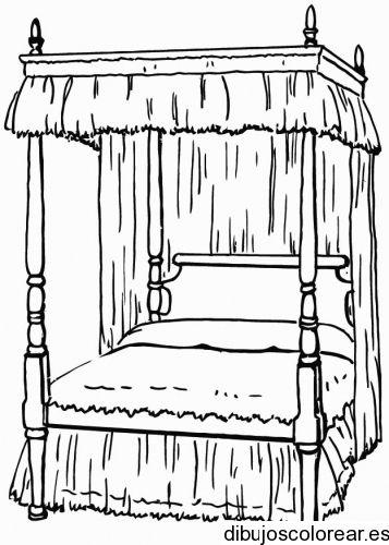 Dibujo De Cama Con Dosel Dibujos Para Colorear Doseles Cama Con Dosel Camas