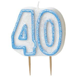 Blue Glitz 40th Birthday Candle 40th Birthday Party Decoration