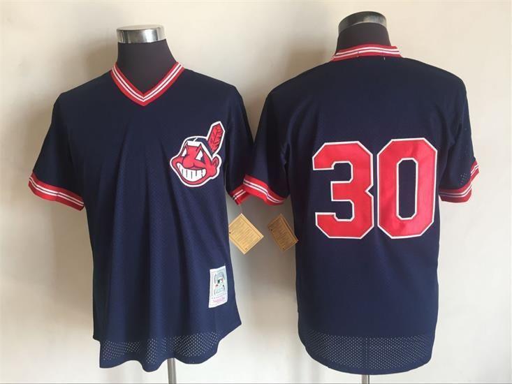 6bd82c5eb0b 2017 MLB Cleveland Indians 30 Joe Carter Blue Throwback Jerseys ...