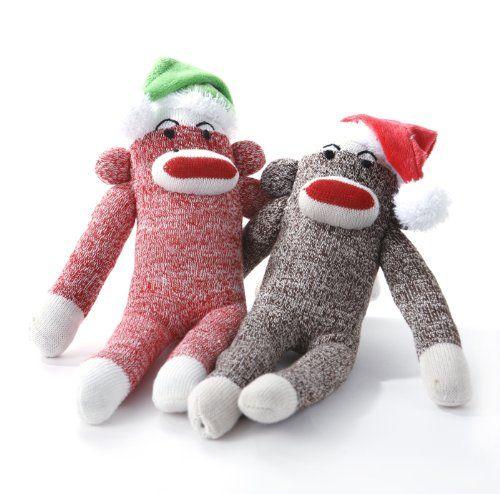 Multipet Holiday Red Original Sock Pal Monkey Plush Filled Dog Toy