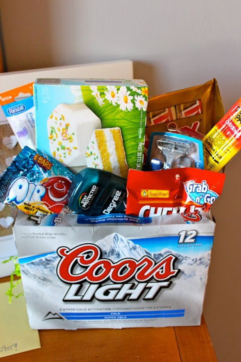 2 manliness 7 easter basket ideas for men diy seasonal easter basket for the man in your life ill have to remember this one so cute ill do soda instead great idea for any guy gift basket negle Image collections