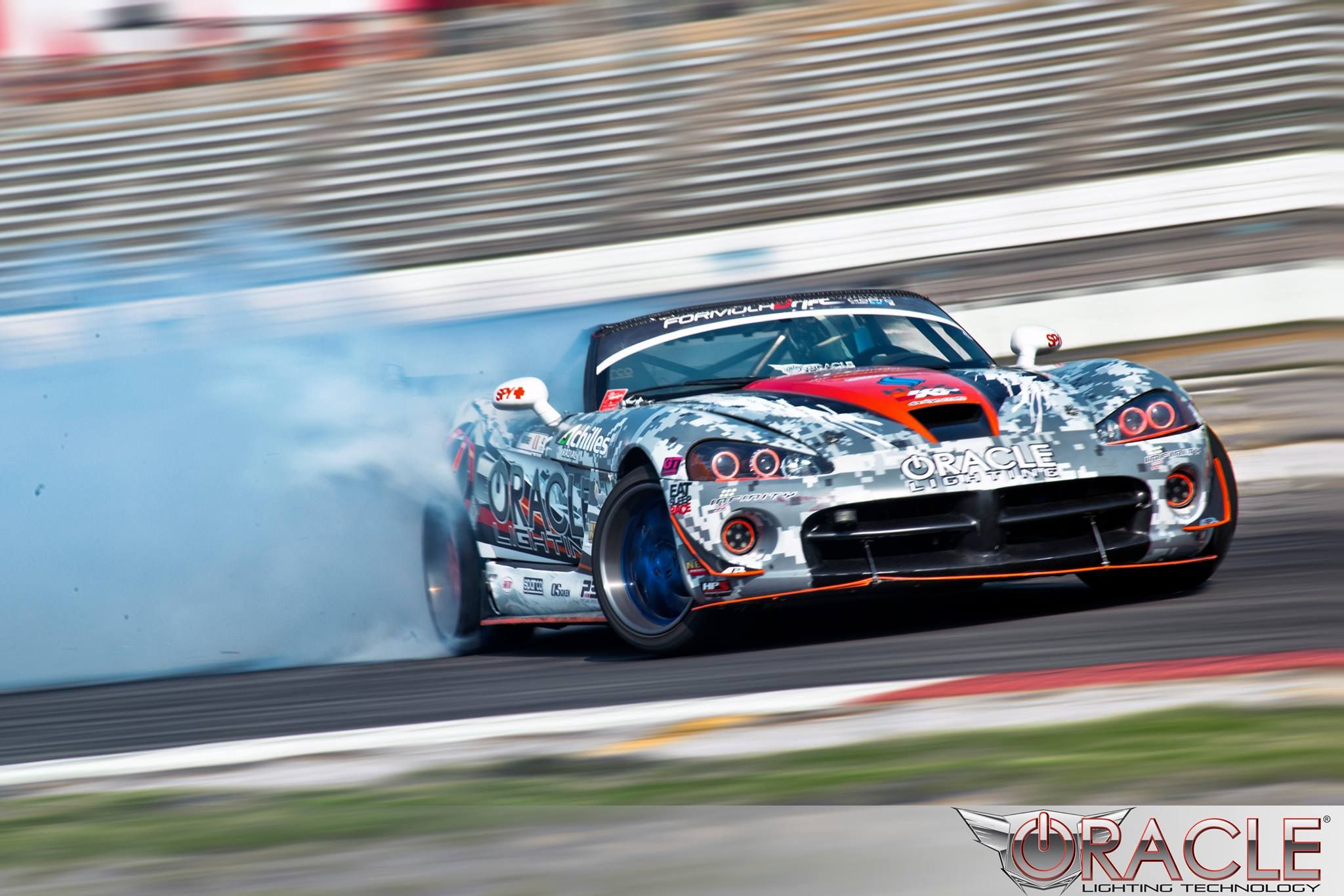 Dodge Viper Going Sideways Knows How To Get Our Attatention At Irwindale Formula Drift Modern Mopar Magazine Srt Drives Dodge Viper Dodge Accessories Viper