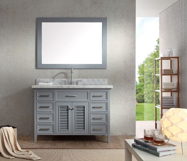 Photographic Gallery Ariel Kensington Single Sink Bathroom Vanity Set in Grey