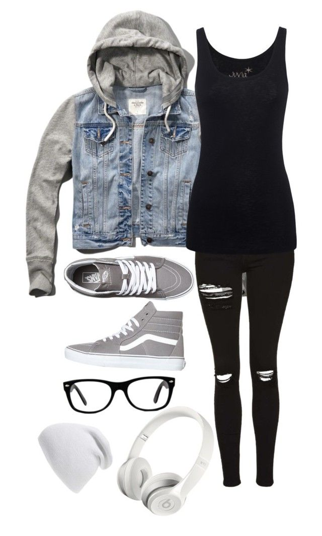 """Outfit #10"" by the-random-girlig ❤ liked on Polyvore featuring Abercrombie & Fitch, Topshop, Juvia, Vans, Phase 3, Beats by Dr. Dre and Ray-Ban"