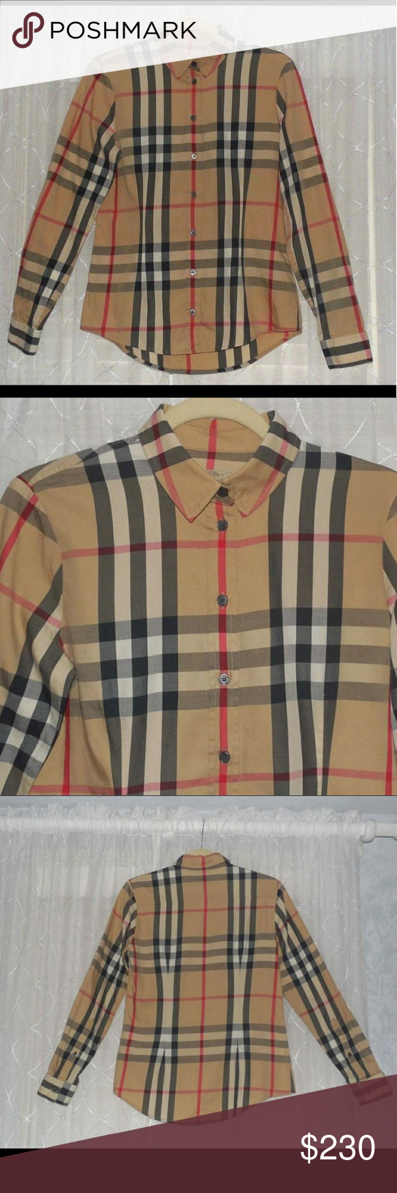 4446802b7a4 Burberry Brit Women s Shirt Nova Check Size Small EVERYONE WILL KNOW IT S  BURBERRY!