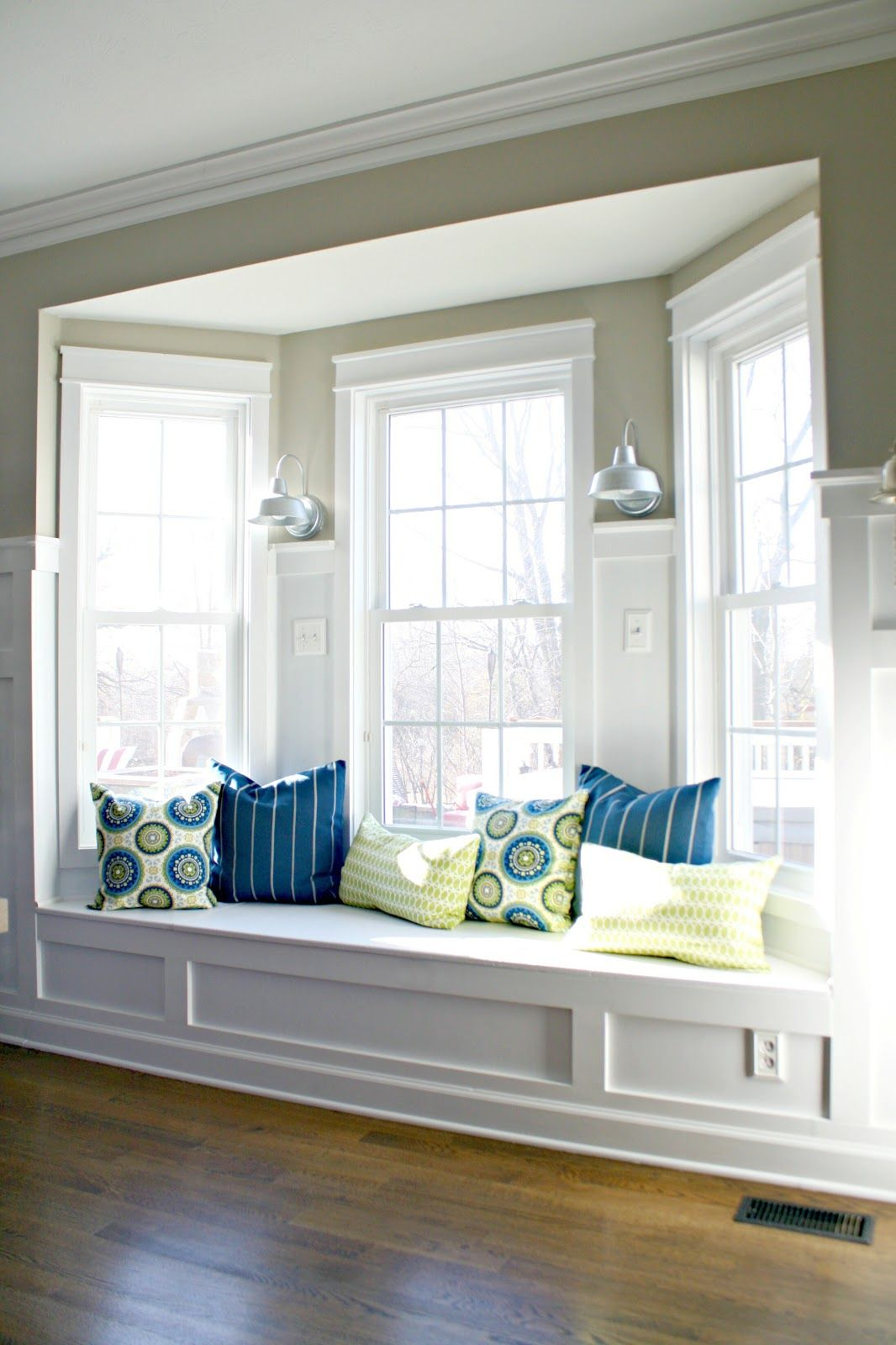 Bay window seat books - Living Room Bay Window Painted White