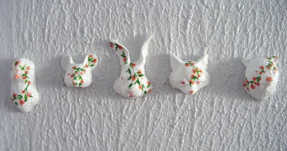 sweet floral pigeon, mouse, rabbit, fox and bear wall sculptures