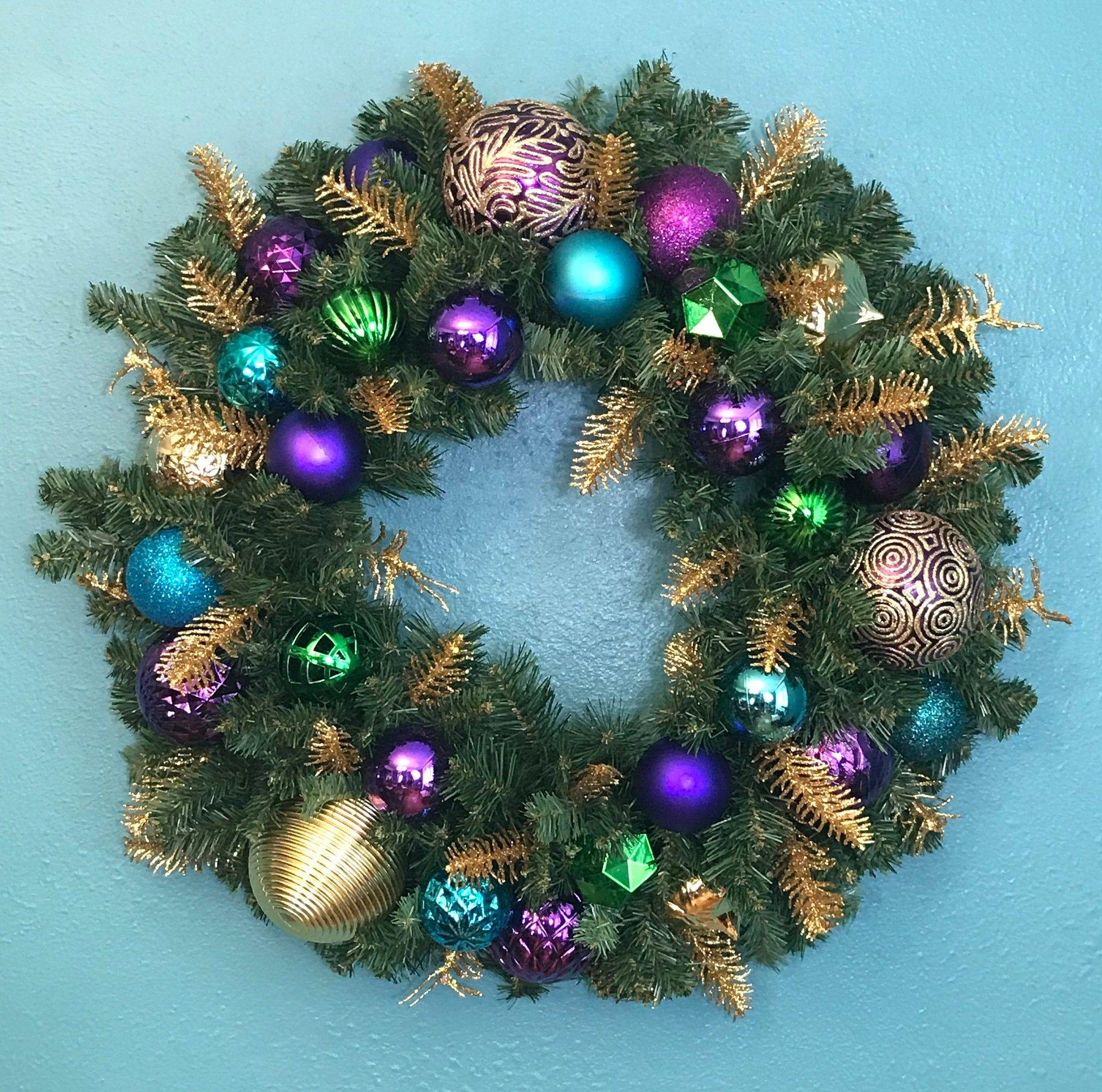 Sparkling Peacock Blue and Silver Christmas Door Wreath-Faux Evergreen Peacock Wreath-Peacock Silver Holiday Decor-Christmas Door Wreath