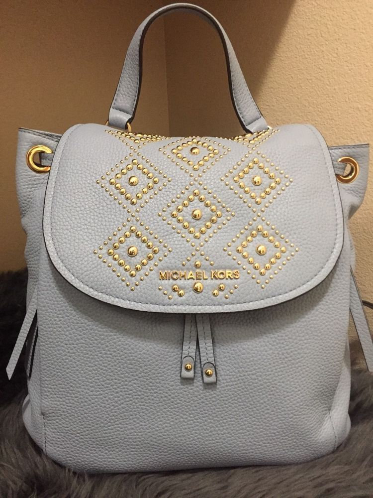 333b7228e758 Michael Kors Riley Large Leather Backpack Pale Blue Gold Studded Drawstring  Flap #fashion #clothing #shoes #accessories #womensbagshandbags ...