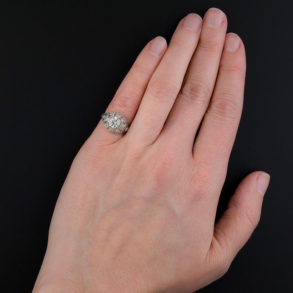 Art Deco .70 Carat Diamond Platinum Engagement Ring - GIA L VS2 ...