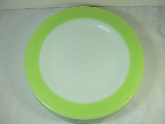 Vintage PYREX DINNER PLATE in Lime Green Set/4 by LavenderGardenCottag & Vintage PYREX DINNER PLATE in Lime Green Set/4 by ...