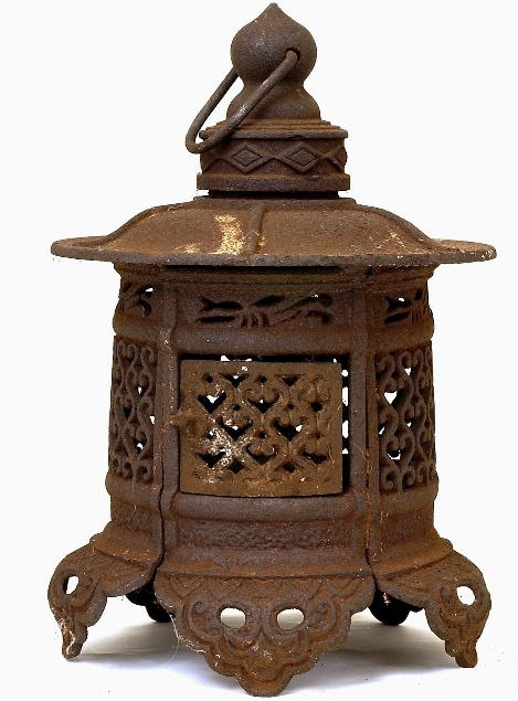 1185 Old Japanese Cast Iron Pagoda Lantern Garden Lamp On